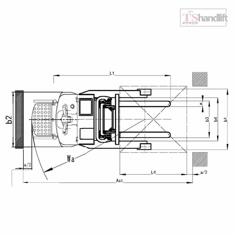 Electric Reach Stacker Drawing Aisle Side