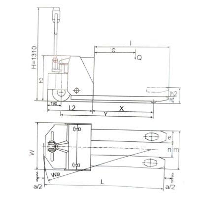 Semi Electric Pallet Truck Se20L Drawing
